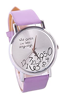 COCOTINA Womens Mens Funny Comment Wrist Watches Who Cares Im Already Late(Purple)