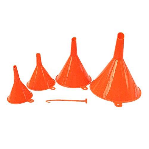 Yonger Plastic Funnel For Liquid Transfer For Car Automotive Kitchen Filter Car Oil Funnel Set 4 Piece (Orange)