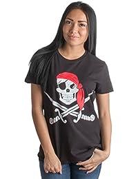 Jolly Roger Pirate Flag   Skull & Crossbones Buccaneer Costume Ladies' T-shirt