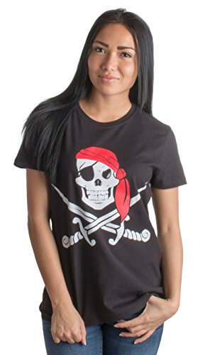 Jolly Roger Pirate Flag | Skull & Crossbones Buccaneer Costume Ladies' T-Shirt-(Ladies,M) Black