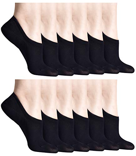 12 Pairs Black Women's No Show Socks Thin Casual Cotton Ultra Low Cut Sock for Women Non Slip Flat Boat Line