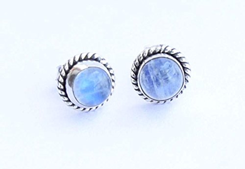Rainbow Moonstone Stud Post Earring 925 Sterling Silver Gemstone Earring 6 MM Girl Women Earrings Round -