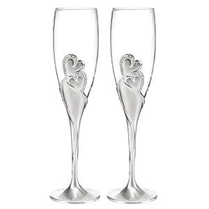 Hortense B. Hewitt Wedding Accessories Sparkling Love Champagne Flutes, Set of 2