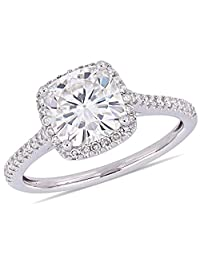 2.00 Carat (ctw) Synthetic Moissanite Halo Ring 14K White Gold with Diamonds (I2-I3)