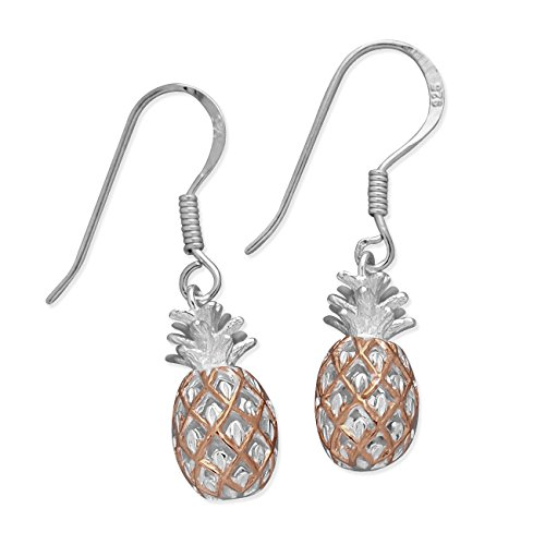 Sterling Silver with 14kt Rose Gold Plated Accents Pineapple Dangle Earrings