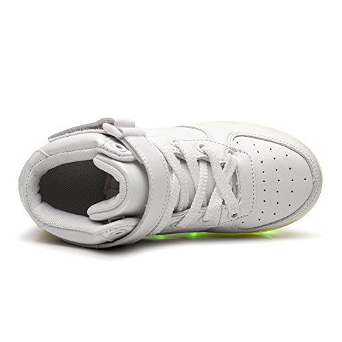 DoGeek Suola Unisex Bambino Luci Bianca con LED nella Colori USB Luminosi Trainners Tennis Sneakers Bright Scarpe con Scarpe Lampeggiante Luce 7 Shoes 7Ir7qwx