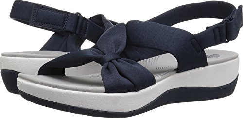 CLARKS Women's Arla Primrose Sandal, Blue Heathered Fabric, 8 Medium US ()