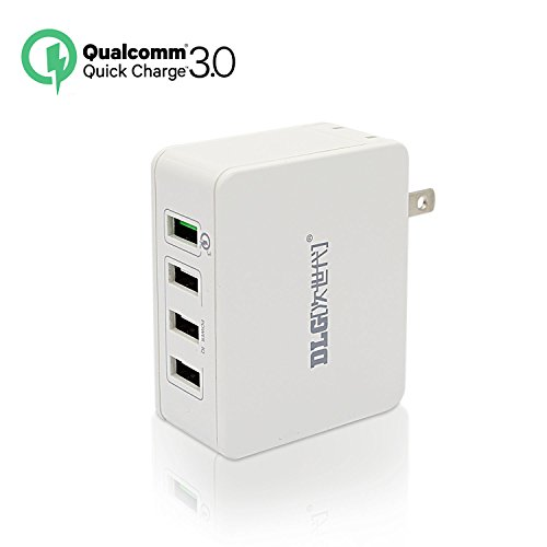 [Qualcomm Certified] DLG QC 3.0 USB Wall Charger 4-Port Fast Charging station with Quick Charge 3.0 for Galaxy S7/S6/Edge, LG, HTC, Sony Xperia Z4; Smart IC port for iPhone 7/6s/Plus, iPad and More