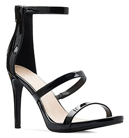 OLIVIA K Women's Open Toe Triple Strappy Stiletto High Heel - Dress, Sexy, Party High Heel - Patent Strappy Stiletto Heel