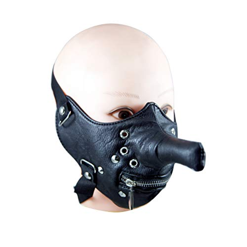 BESTOYARD Leather Half Face Zipper Mask Long Nose Funny Cool Mask with Rivet Halloween Party Favors -