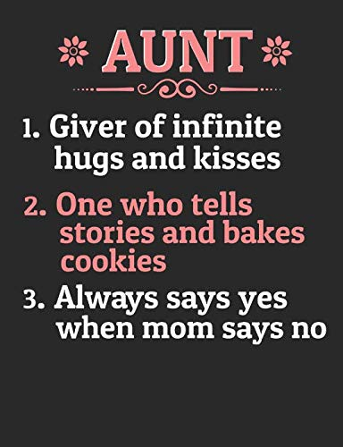 Aunt 1. Giver Of Infinite Hugs And Kisses 2. One Who Tells Stories And Bakes Cookies 3. Always Says Yes When Mom Says No: A Cool Composition Notebook For Nieces And Nephews Who Love Their Aunts -