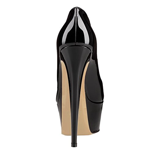 Pump Black Color Heels Women's MERUMOTE Stiletto Solid Fancnv Platform AcOqzWFP