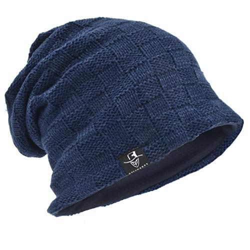 Men's Slouch Knitted Beanie Hat Crochet Stripe Winter Cap Oversized B318 (B5021-Navy)