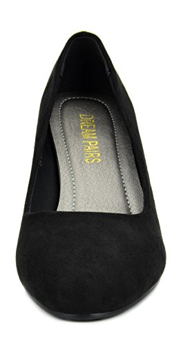 Paires De Rêve Femmes Suavee Bas Talon Chaussures De Pompe Stiletto Noir