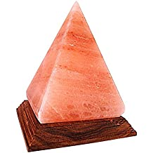 Himalayan Salt Lamp Pyramid Triangle Shape Rock Salt Lamps with Color Changing LED Light USB plug and Wood Base - Mini Air Purifier for Office Home