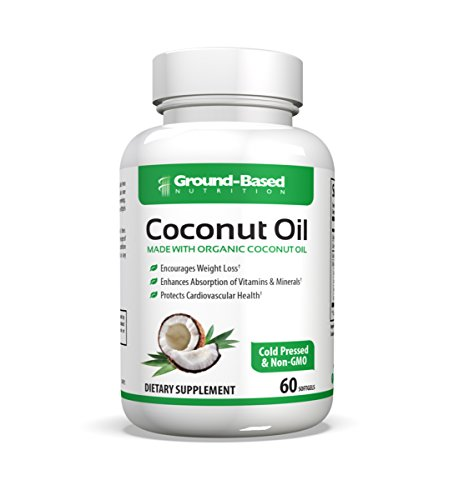 Ground-Based Nutrition Certified Organic Coconut Oil Capsules 2000mg - Pure Cold Pressed & Non-GMO for Weight Loss, Hair Growth and Healthy Skin – 60 Servings by Ground-Based Nutrition