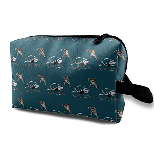 Funny Running Ostrich and Mummy Cute Multifunction Portable Make-up Mini Bag/Travel Toiletry Bag/Large Capacity Organizer Bag/Makeup Bag/for Home Office Travel -