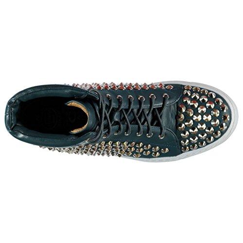 Jeffrey Campbell Alva clouté Hi Top Sneakers Chaussures Baskets Femme Bleu/Argent