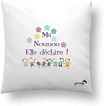 Idee Cadeau Assistante Maternelle Coussin ou Housse de Coussin ma Nounou Elle déchire, idée Cadeau