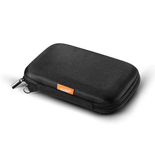 GLCON Portable External Hard Drive Case for Passport Small Travel Carrying Case with Mesh Pocket for Power Bank - Shockproof EVA Storage Organizer for Cell Phone, Bluetooth - Case Clamshell Travel