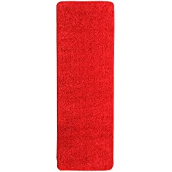 "Ottomanson Luxury Collection Solid Runner Rug with Non-Slip/Rubber-Backing Bath Rug, 20"" X 59"", Red"