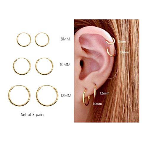 Small Hoop Earrings for Women - Gold Hoop Earrings Set Cz Cartilage Earrings for Lovers (3 pairs - Gold Hoop Small Earrings