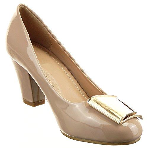 Sopily - Scarpe da Moda scarpe decollete Decollete Stiletto Aperto decollete alla caviglia donna lucide fibbia Tacco a blocco 7 CM - Khaki