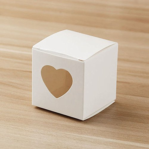 Hondex Gift Boxes 50 Pcs Candy Box with Heart Love Sweet for Wedding Birthday Party Sweet Chocolate Boxes Christmas Decoration (white)