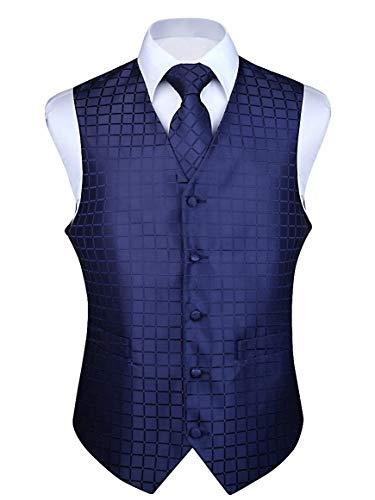 HISDERN Men's Solid Check Jacquard Waistcoat & Necktie and Pocket Square Vest Suit Set Blue
