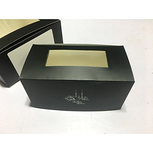 Shabbat Shalom Printed Gift Boxes - Black Boxes with White Space - Transparent Frontside - Shabbos Theme Paper Boxes for Purim Shalach Manot - Pack of 10