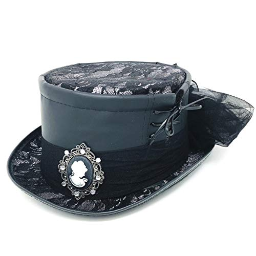Storm Buy ] Steampunk Style Women Lady Girl Rhinestone Top Hat Feather Halloween Costume Cosplay Party with Goggles (Black Leather Top) -