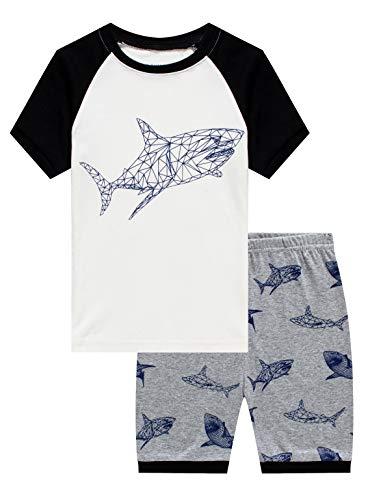 Shark Little Boys Short Sleeve Summer Pjs Pajamas 100% Cotton Sleepwear Size 5