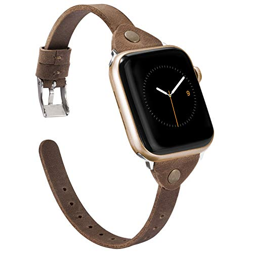 Wearlizer Deep Brown Scrub Leather Compatible with Apple Watch Slim Leather Band 38mm 40mm iWatch Womens Mens Strap Wristband Leisure Unique Bracelet (Silver Metal Clasp) Series 4 3 2 1 Edition Sport