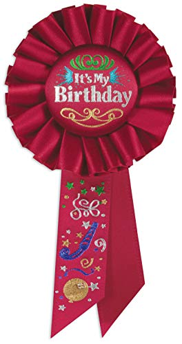 Beistle RS191 It's My Birthday Rosette Party Item, 3-1/4-Inch by 6-1/2-Inch, Red -