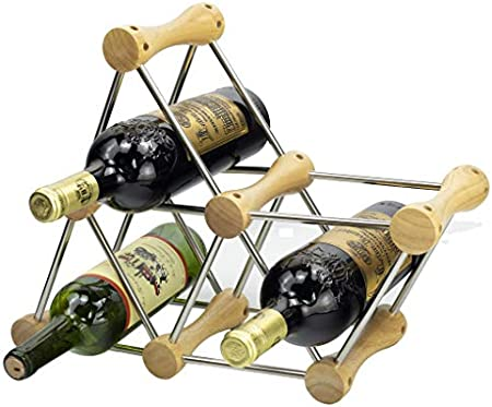 Botellero madera Nogal Botellero de Diseño para 6 Botellas con Asa, Madera Natural per vinoteca cajas madera vino,botelleros vino apilable