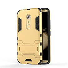 Kickstand Cover for ZTE Axon 7, Arroker TPU and PC Lightweight Bumper Protective Full Body Case for ZTE Axon 7 (Gold)