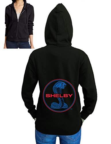 Junior's Shelby Cobra Circle Black Fleece Zipper Hoodie Small Black (Shelby Cs6 Hood)