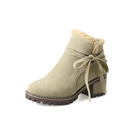 ZQ@QX Otoño e Invierno impermeable de cabeza redonda de Taiwán con gruesas correas zapatos de tacón alto y versátil de estudiantes desnudos femeninos botas botas botas cortas apricot