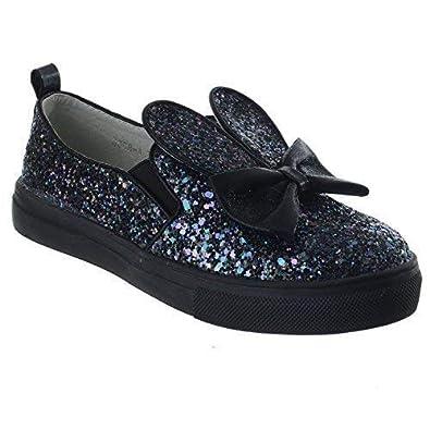 b204fea36adf Girls Kids Glitter Skater Pumps Plimsolls Trainers Childrens Party Shoes  Size [Black Glitter UK 2.5