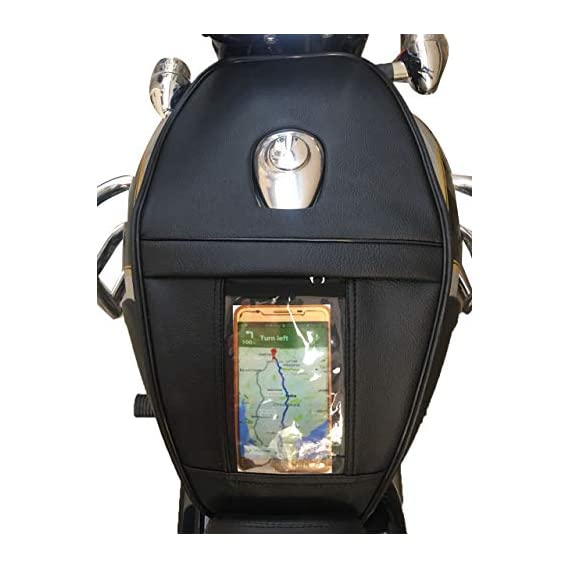 SaharaSeats Tank Cover for Classic 350/500 with Transparent Pocket for Mobile