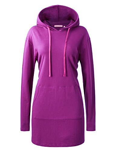 Regna X Women's Round Neck Soft and Stretch Long Sleeve Hoodi Shirts Magenta M