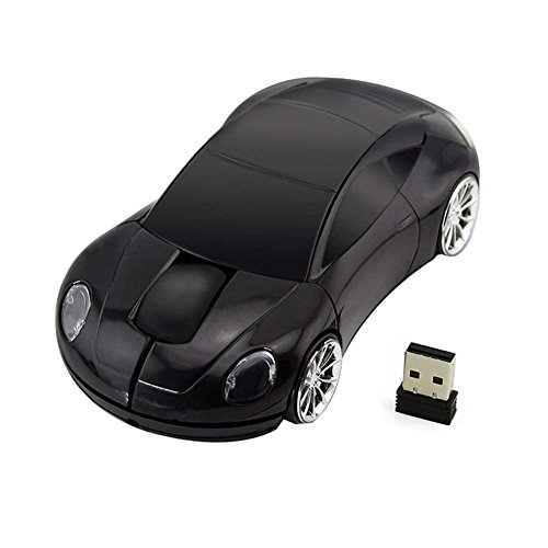 CHUYI 2.4GHz 3D Car Shape Wireless Optical Mouse Office Mouse USB Gaming Mouse with Receiver for PC Laptop (Black)
