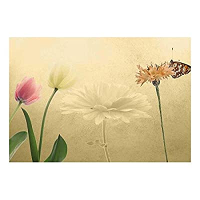 Tulips and a Butterfly with Copper Textured Background...