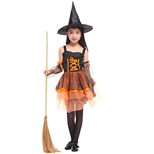 Gon Cosplay Costume (Hollicy Halloween Witch Kids Costume Children Classic Fairy Dress+Hat (XL, MS1010))