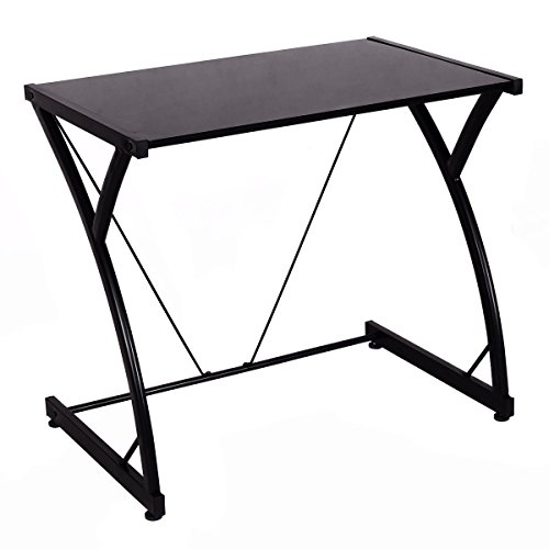 Computer Desk PC Laptop Table Glass Top for Writing Study Workstation Home Office - Flat Top Home Office Desk