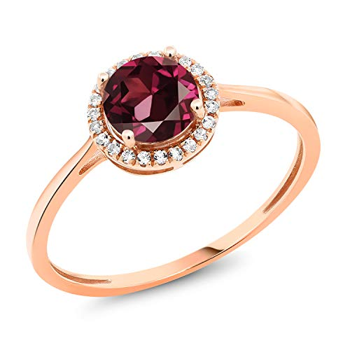 Gem Stone King 10K Rose Gold Diamond Engagement Ring Round Red Rhodolite Garnet 1.22 cttw (Size 7)