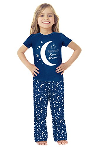 NCAA Penn State Nittany Lions Girls Toddler Moon Pajama Set, 3T, Navy