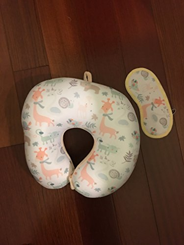 PurpleClay Soft Memory Foam Neck Pillow with Eye Mask (Animal/Peach) by PurpleClay