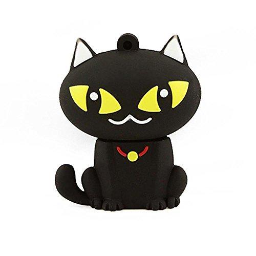 (CHUYI Cute and Novelty Animal Series Sitting Cat Shape Design 16GB USB 2.0 Flash Drive Pen Drive Memory Stick Cartoon Thumb Drive Lovely Jump Drive Data Storage U Disk Gift (Black))