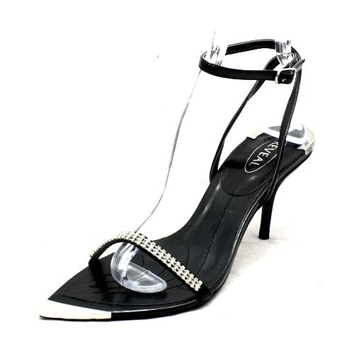 SendIt4Me Diamante Pointed Toe with Silver Toe Cap Party Sandals Black YjdxWwW